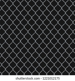 Seamless  realistic chain link fence background.  Vector mesh isolated on black background.