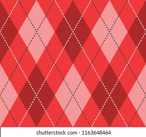 Seamless red argyle classic textile diamonds pattern vector