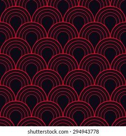 Seamless red and black art deco twenties vintage pattern vector