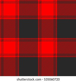 Seamless red and black buffalo plaid pattern. Checkered fabric texture background.