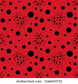 Seamless red and black dot pattern background. Ladybug or ladybird beetle texture background Vector textile illustration