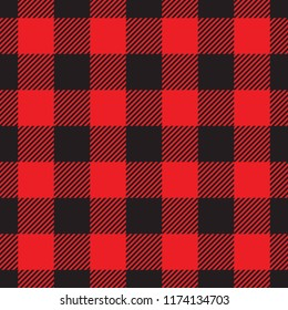 Seamless red and black lumberjack plaid check textile pattern vector