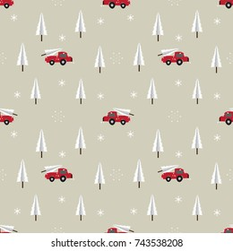 Seamless Red car with Christmas tree pattern background