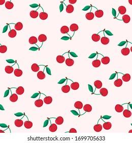 Seamless red cherry pattern design, flat cherry pattern template vector