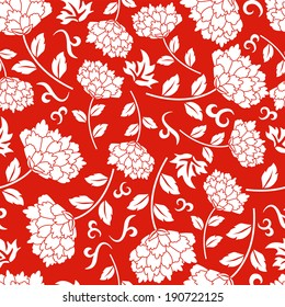 Seamless red chinese pattern. Vector background