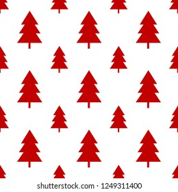 Seamless red christmas tree on white background