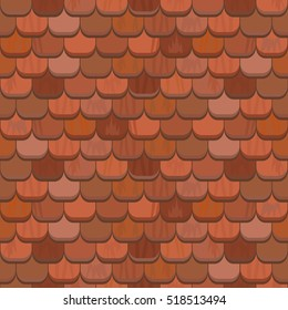 Seamless red clay roof tiles.Terracotta roof tile. Vector.