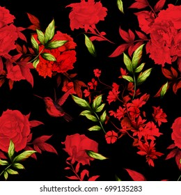 Seamless red floral background pattern. Roses, rosemary, humming birds around with leaves and branches on black. Hand drawn, watercolor.