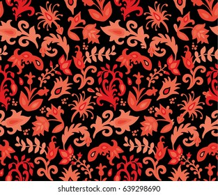 Seamless red floral vector pattern on dark background,  russian style