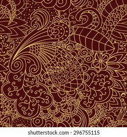Seamless red and gold lace pattern.