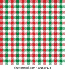 Seamless red and green festive Christmas gingham pattern