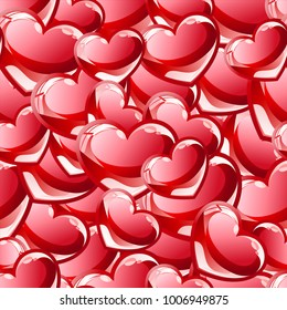 Seamless red hearts pattern.