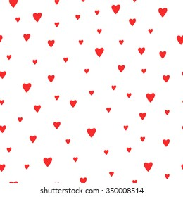 Seamless red hearts pattern background. Cute vector romantic hearts pattern for postcard and poster design. Pattern for wrapping paper, hand drawn style web backgrounds. Valentines day background.