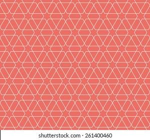 Seamless red islamic hexagonal star pattern vector