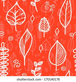 Seamless red leaves pattern
