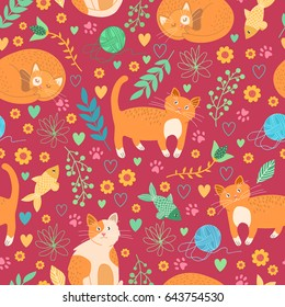 Seamless red pattern with cute cats. Vector illustration