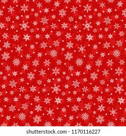 Seamless red pattern of snowflakes