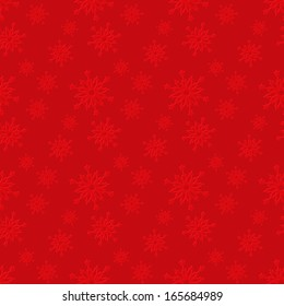 Seamless red pattern with snowflakes.