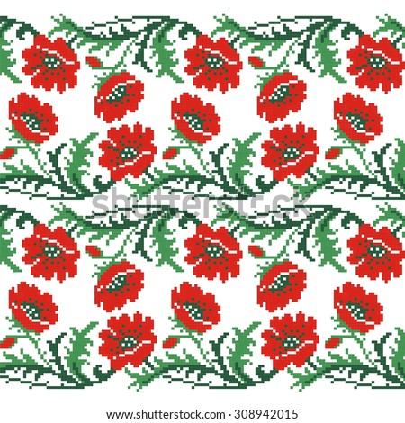 Seamless Red Poppies Pattern Knitting Embroidery Stock Vector