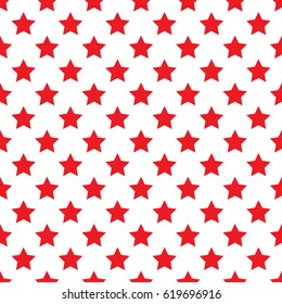 Seamless red stars on white background