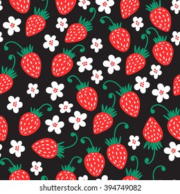Seamless red strawberry pattern background. Vector nature illustration.
