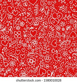 seamless red vector pattern background image hearts and flowers