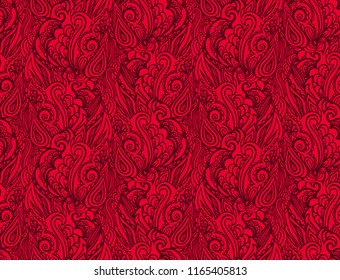 Seamless red vector woven paisly pattern