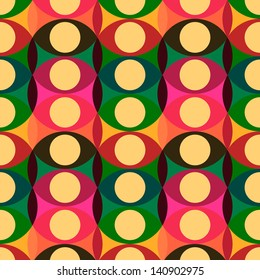 Seamless red yellow retro circle pattern background, vector illustration.