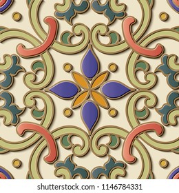 Seamless relief sculpture decoration retro pattern spiral curve round cross frame chain flower leaf vine. Ideal for greeting card or backdrop template design