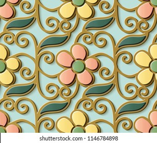 Seamless relief sculpture decoration retro pattern cute spiral curve cross vine flower leaf. Ideal for greeting card or backdrop template design