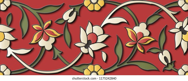 Seamless relief sculpture decoration retro pattern spiral curve cross vine flower. Ideal for greeting card or backdrop template design