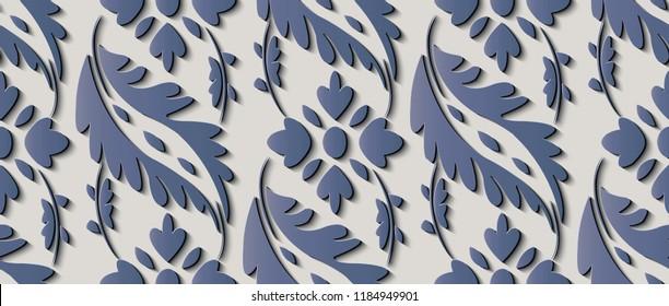Seamless relief sculpture decoration retro pattern elegant blue spiral cross leaf flower frame vine line. Ideal for greeting card or backdrop template design
