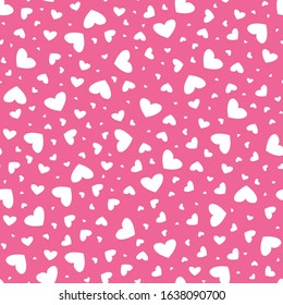 Seamless repeat background of mixed white hearts on pink background. A pretty decorative design for feminine, beauty, fashion and cute girly graphic design projects.