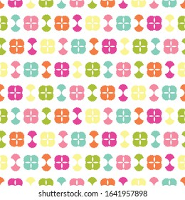 Seamless repeat background pattern with colorful abstract tile shapes. A cute decorative design for summertime, children, kids, party and trendy themed graphic design projects.