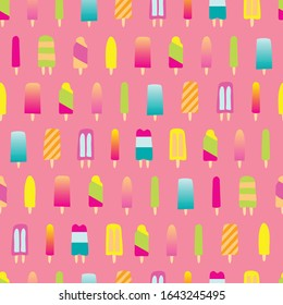 Seamless repeat background pattern of colorful popsicle shape ice cream. A cute decorative design for summertime, ice cream food related graphic design projects.