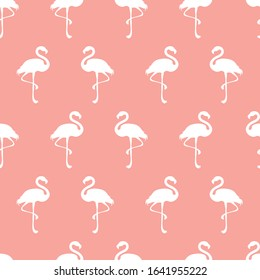 Seamless repeat background pattern of flamingo silhouettes. Cute decorative design for tropical, summer and girly themed graphic design projects.