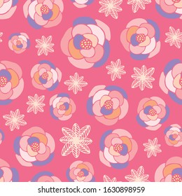 Seamless repeat background pattern of pink and purple floral elements. A pretty decorative design for cute flower related graphic design projects.