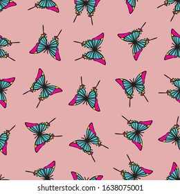 Seamless repeat background pattern of pink and blue butterflies. Colorful and decorative design for transformation, butterfly and girly graphic design projects.