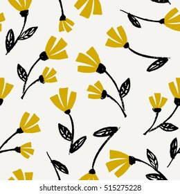 Seamless repeat flowers pattern in black, mustard yellow and cream. Beautiful floral textile, wallpaper, wrapping paper, wall art design.