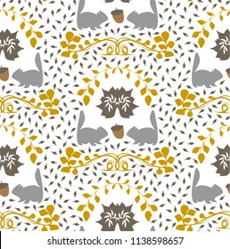 A seamless repeat pattern with an autumn theme, English style, coat of arms with squirrels. Great for packaging, stationery, wallpaper and backgrounds that require a repeat surface pattern design.