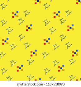 Seamless repeat pattern background yellow with stars and squares orange blue red