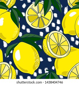 Seamless repeat pattern with bold yellow lemons and leaves on white chunky texture and navy ground