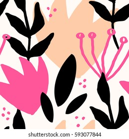 Seamless repeat pattern with botanical elements in fuchsia pink, light orange, black and cream. Modern and original textile, wrapping paper, wall art design.