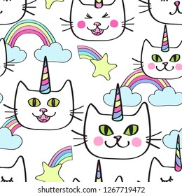 Seamless repeat pattern with caticorn, happy cat unicorn and rainbow clouds in pastel colors