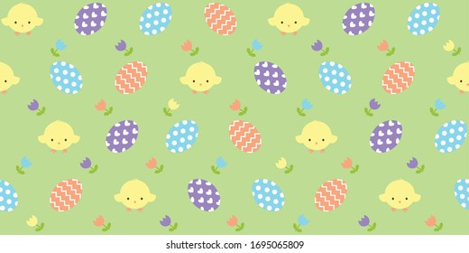 Seamless repeat pattern of colorful Easter eggs and yellow chicks with tulip flowers. This colorful repeat is great for kids, decorative designs and Easter related home decor and paper projects.