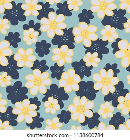 A seamless repeat pattern of cute daisy flowers, random tossed repeat looks great for fabric, packaging, stationery, wallpaper and backgrounds that require a repeat surface pattern design.