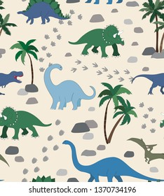 Seamless repeat pattern with a dinosaur scene, palms, rocks and dino tracks