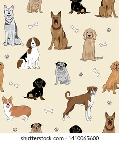 Seamless repeat pattern with dogs of different breeds, bones and paw prints on a cream background