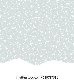 Seamless repeat pattern with falling snow in white and light gray. Winter textile, wall art, wrapping paper, wallpaper design.