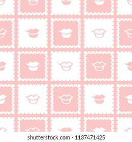A seamless repeat pattern featuring classic stamp design with lips. Great for beauty, fashion and design projects that require a repeat surface pattern design.